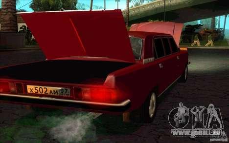 GAZ Limousine de Volga 3102 pour GTA San Andreas sur la vue arrière gauche