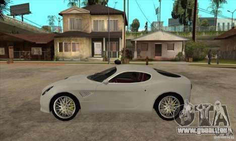 Alfa Romeo 8 C Competizione Lager für GTA San Andreas zurück linke Ansicht