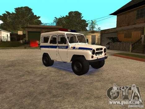 UAZ-Polizei für GTA San Andreas zurück linke Ansicht