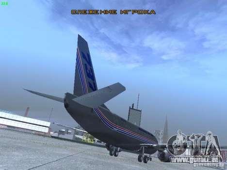 Boeing 737-500 für GTA San Andreas Rückansicht