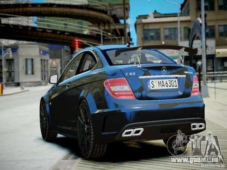Mercedes-Benz C63 AMG Black Series 2012 v1.0 für GTA 4 hinten links Ansicht
