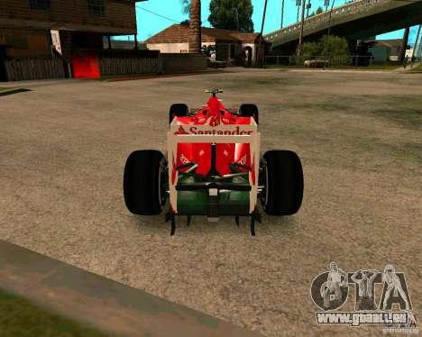 Ferrari Scuderia F2012 pour GTA San Andreas sur la vue arrière gauche