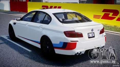 BMW M5 F10 2012 M Stripes pour GTA 4 vue de dessus