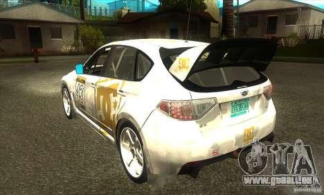 Subaru Impreza WRX STi DC Shoes von DIRT 2 für GTA San Andreas zurück linke Ansicht