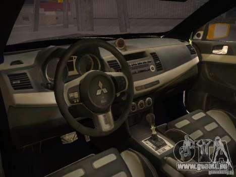 Mitsubishi Lancer Evo X Tunable pour GTA San Andreas sur la vue arrière gauche