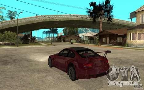 BMW M3 2009 pour GTA San Andreas sur la vue arrière gauche