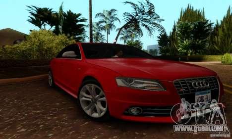 Audi S4 2010 pour GTA San Andreas sur la vue arrière gauche