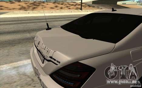 Mercedes-Benz S65 AMG mit blinkenden Lichtern für GTA San Andreas Rückansicht