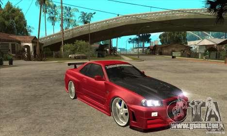 Nissan Skyline GTR-34 Carbon Tune für GTA San Andreas Rückansicht