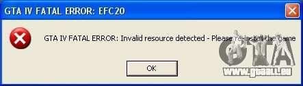 Correction d'erreur fatal EFC20 pour GTA 4 secondes d'écran