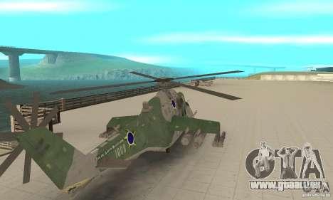 Ein Hubschrauber der globalen Konflikt-Schtorm für GTA San Andreas zurück linke Ansicht