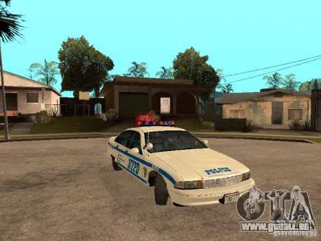NYPD Chevrolet Caprice Marked Cruiser pour GTA San Andreas vue arrière