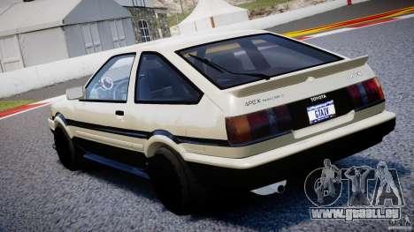 Toyota AE86 TRUENO Initial D pour GTA 4 Vue arrière de la gauche