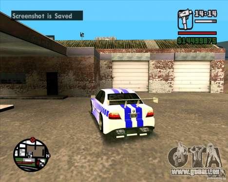 BMW 730i X-Games tuning pour GTA San Andreas sur la vue arrière gauche