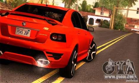 Holden HSV GTS pour GTA San Andreas sur la vue arrière gauche