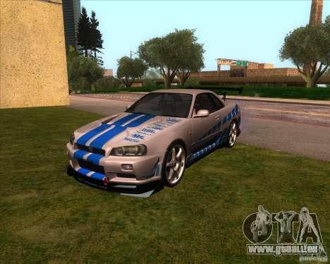 Nissan Skyline R-34 GT-R M-spec Nur pour GTA San Andreas vue arrière