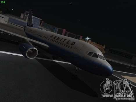 Airbus A319 United Airlines für GTA San Andreas Rückansicht