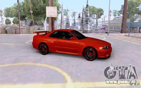 Nissan Skyline R34 GT-R pour GTA San Andreas laissé vue