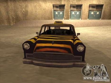 Zebra Cab von Vice City für GTA San Andreas zurück linke Ansicht