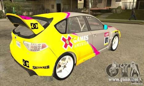 Subaru Impreza WRX STi X jeux Amérique de DIRT 2 pour GTA San Andreas vue de droite
