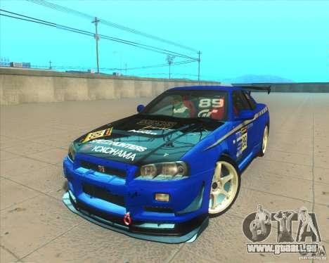 Nissan Skyline GT-R R34 M-Spec Nur pour GTA San Andreas vue de dessous