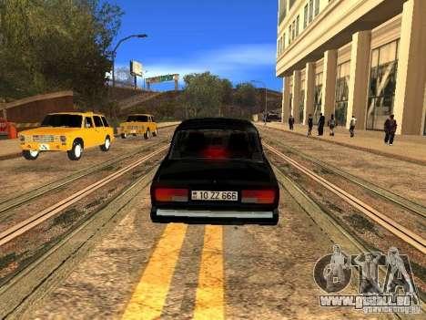 VAZ 2107 ZZ Style pour GTA San Andreas sur la vue arrière gauche