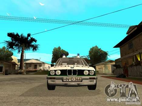 BMW E30 323i Polizei pour GTA San Andreas vue de droite