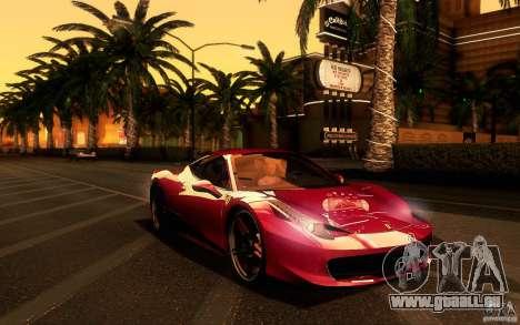 Ferrari 458 Italia Final pour GTA San Andreas vue intérieure