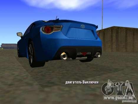 Toyota GT86 Limited für GTA San Andreas zurück linke Ansicht