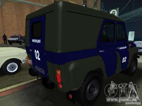 UAZ 3151 Police pour GTA San Andreas vue de droite