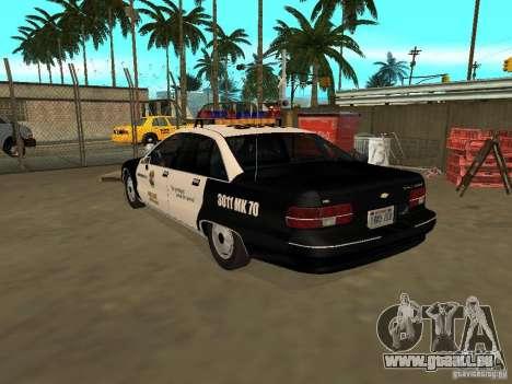 Chevrolet Caprice Police pour GTA San Andreas laissé vue