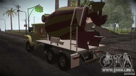 Ural 4320-Betonmischer für GTA San Andreas zurück linke Ansicht