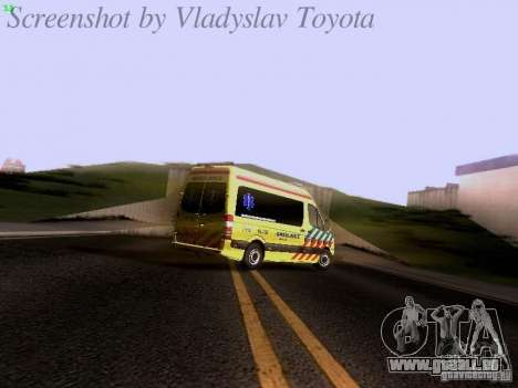 Mercedes-Benz Sprinter Ambulance pour GTA San Andreas vue de dessus