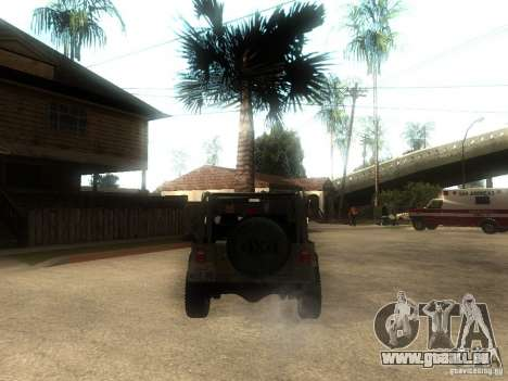 Jeep Wrangler 1986 4.0 Fury v.3.0 für GTA San Andreas zurück linke Ansicht