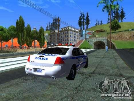 Chevrolet Impala NYPD für GTA San Andreas zurück linke Ansicht
