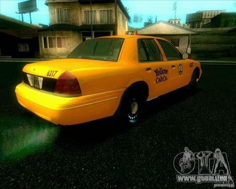 Ford Crown Victoria 2003 TAXI pour GTA San Andreas sur la vue arrière gauche