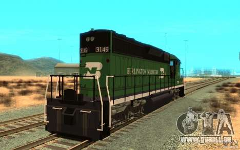 SD 40 Union Pacific Burlington Northern 3149 für GTA San Andreas zurück linke Ansicht