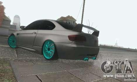 BMW M3 E92 Hellaflush v1.0 pour GTA San Andreas vue arrière