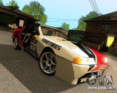 Need for Speed Elegy pour GTA San Andreas vue de dessous