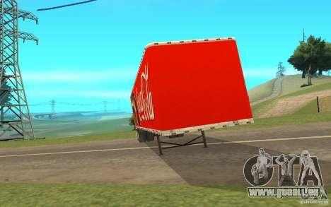 La semi-remorque à la coutume Peterbilt 379 Coca pour GTA San Andreas laissé vue
