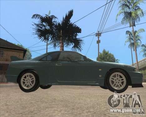 Nissan Skyline GT-R BNR33 pour GTA San Andreas sur la vue arrière gauche