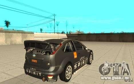 2 Werke für den Ford Focus RS WRC 08 für GTA San Andreas Rückansicht