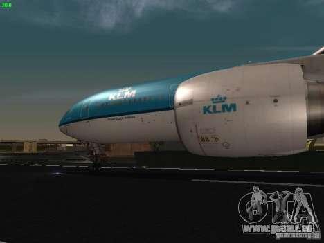 Boeing 777-200 KLM Royal Dutch Airlines pour GTA San Andreas vue intérieure