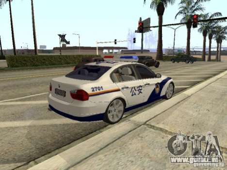 BMW 3 Series China Police pour GTA San Andreas vue arrière