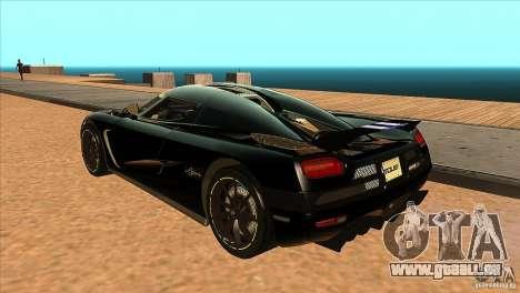 Koenigsegg Agera 2010 für GTA San Andreas zurück linke Ansicht
