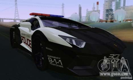 Lamborghini Aventador LP700-4 Police für GTA San Andreas linke Ansicht