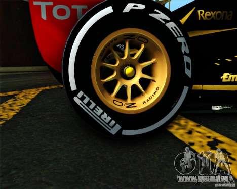 Lotus E20 F1 2012 pour GTA San Andreas sur la vue arrière gauche