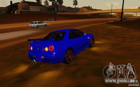Nissan Skyline R34 GT-R V2 pour GTA San Andreas sur la vue arrière gauche