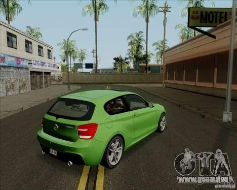 BMW M135i V1.0 2013 pour GTA San Andreas sur la vue arrière gauche
