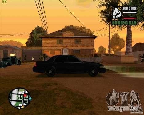 Ford Crown Victoria FBI pour GTA San Andreas sur la vue arrière gauche
